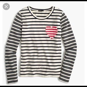 J.Crew heart and stripes long sleeved shirt